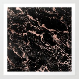 Modern girly faux rose gold foil black marble Art Print