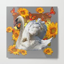 Abstracted Swan Grey Art  Sunflowers Butterflies Metal Print