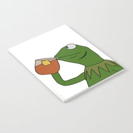 Kermit Inspired Meme King Sipping Tea Notebook