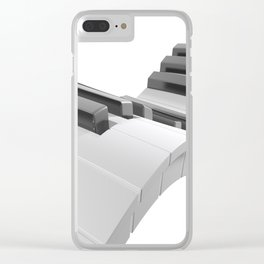 Keyboard of a piano waving on white background - 3D rendering Clear iPhone Case