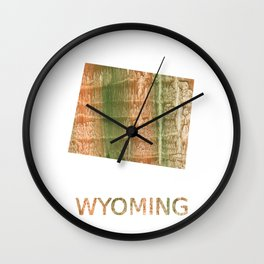 Wyoming map outline Brown green blurred watercolor texture Wall Clock