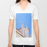portugal V-neck T-shirts featuring Chimney pots portugal by Brian Raggatt