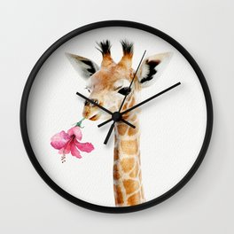 Giraffe with Tropical Flower Wall Clock