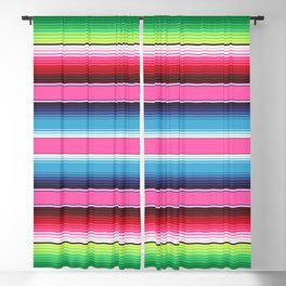 Pink Green Blue Mexican Serape Blanket Stripes Blackout Curtain