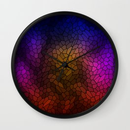 Volumetric texture of pieces of blue glass with a gloomy mysterious mosaic. Wall Clock