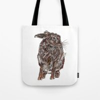 hare Tote Bags featuring Hare by Meredith Mackworth-Praed