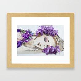 floral bugambilia woman Framed Art Print