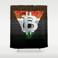 india Shower Curtains featuring bitcoin India by seb mcnulty