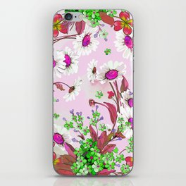 Elegant white Sunflowers and Pink floral garland iPhone Skin