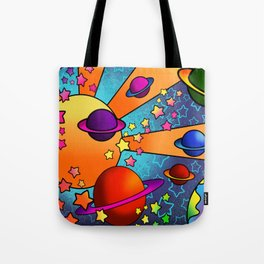 spacey groovy, peter max inspired Tote Bag