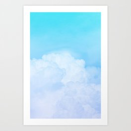 Happy Pastel Clouds | Aquamarine Art Print