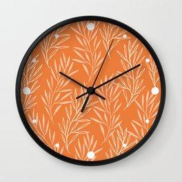 Beautiful Terracotta Orange Leaf Pattern Wall Clock