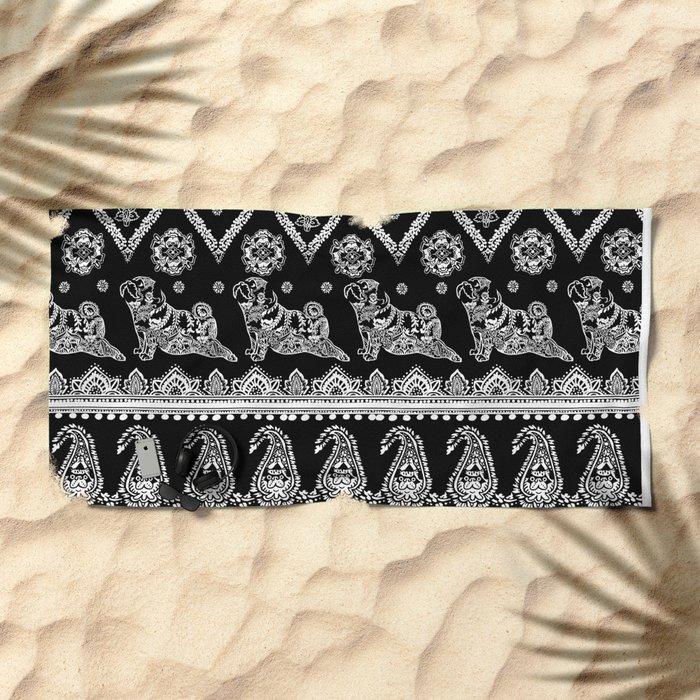Boho of Pug Beach Towel