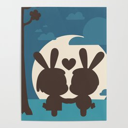 Bunnies at Moonlight Poster