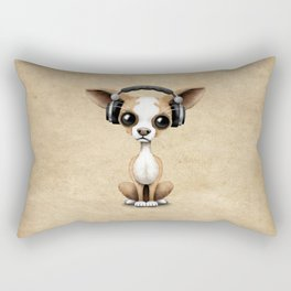 Cute Chihuahua Puppy Dog Wearing Headphones Rectangular Pillow