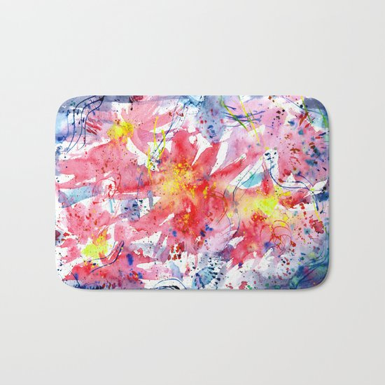 Floral vibes || watercolor Bath Mat