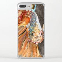 Grumpy Betta Fish Clear iPhone Case