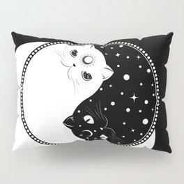 Cartoon black and white cats, yin yang sign Pillow Sham