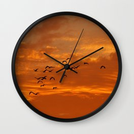 Birds and sunset Wall Clock
