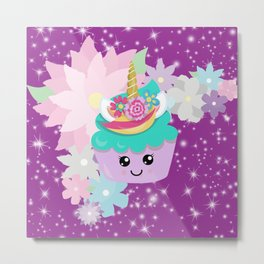 Unicorn Cupcake Sparkles Background Metal Print