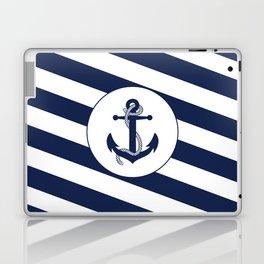 Nautical Anchor Navy Blue & White Stripes Beach Laptop & iPad Skin