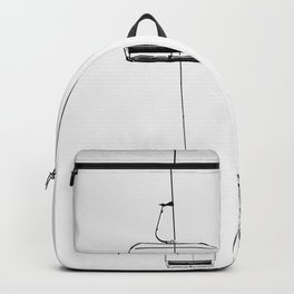 Ski Lift // Black and White Daylight Chairlift Mountain Photograph Backpack