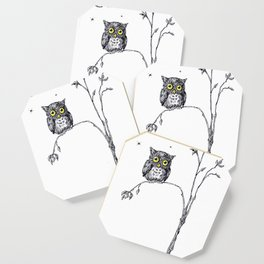owl in the moonlight under the stars too big for his little tree Coaster
