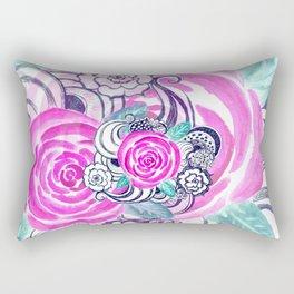 Grunge Pink Acrylic Flowers Rectangular Pillow