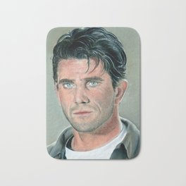 Mel Gibson portrait with dry pastels Bath Mat