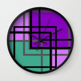 Geometric patchwork, green, turquoise Wall Clock