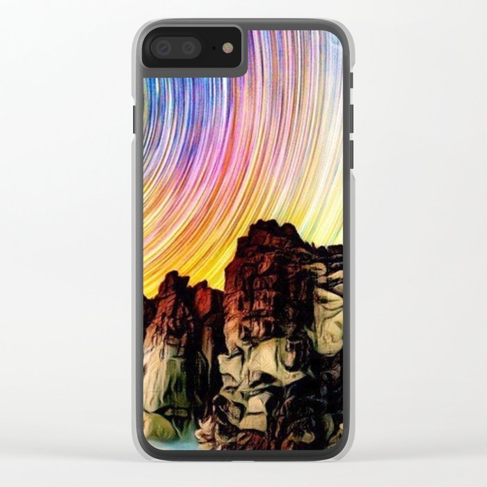 Epic Sunset Aurora Lights with Mountains and River Clear iPhone Case