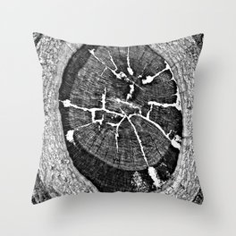 Black and White Tree Veining and Cracks Throw Pillow