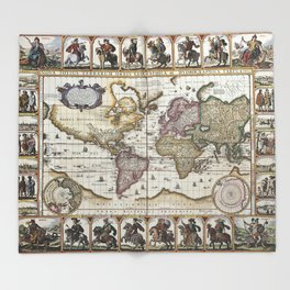 Old World map 1652 Throw Blanket