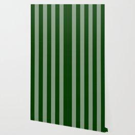 Forest Green Vertical Stripes Wallpaper