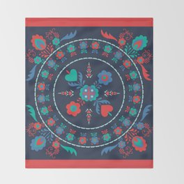 Folk Flowers with Red Border Throw Blanket