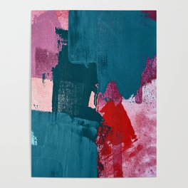 Joy [1]: a vibrant abstract design in purple, red, and teal by Alyssa Hamilton Art Poster