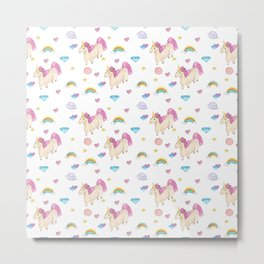 Pretty unicorn pattern Metal Print