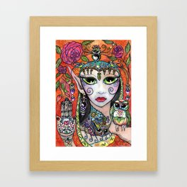 Gypsy Owl Oracle Framed Art Print