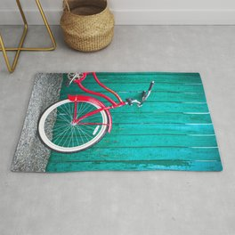 Red Retro Bicycle Rug