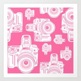 Cute Pink Camera Pattern Art Print