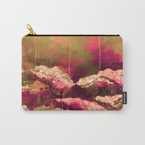 IT'S A ROSE COLORED LIFE 2 - Colorful Floral Garden Chic Abstract Pink White Olive Green Painting Carry-All Pouch
