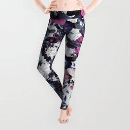 Bohemian Floral Nights Pink and Gray Leggings