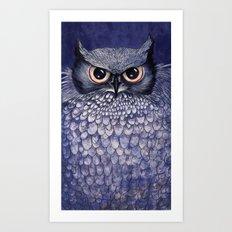 La Sagesse du Hibou (The Blue Owl) Art Print