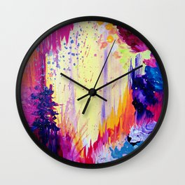 IN TIMES OF CHAOS - Intense Nature Abstract Acrylic Painting Wild Rainbow Volcano Waves Fine Art  Wall Clock