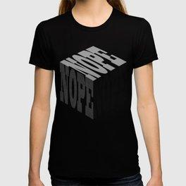 Nope black denim cube text T-shirt