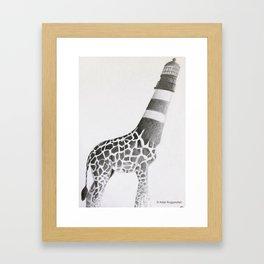 Lighthouse Giraffe Framed Art Print