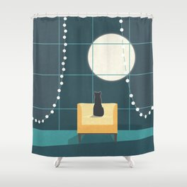 Cat and the Moon Shower Curtain