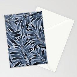 Ornate Leaves In Blue Black Color Pattern Stationery Cards