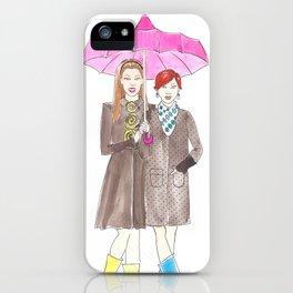 Girlfriends in the Rain iPhone Case