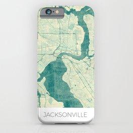 Jacksonville Map Blue Vintage iPhone Case